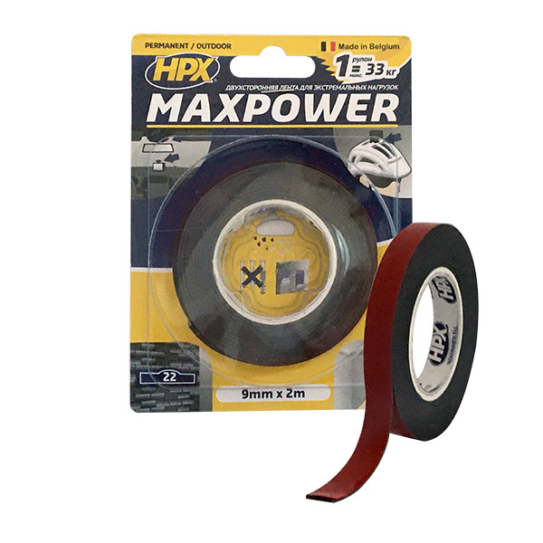 MAXPOWER OUTDOOR - 9мм х 2м - черная двусторонняя лента HPX (скотч) для экстремальных нагрузок