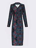 Трикотажное платье-рубашка длиной миди черное с принтом, фото 7