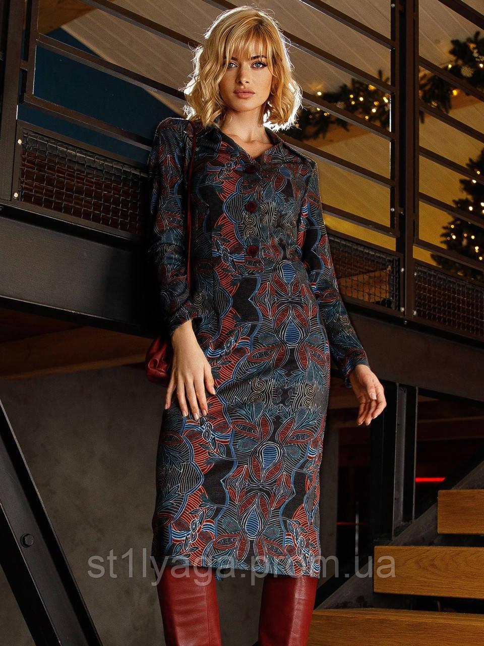 Трикотажное платье-рубашка длиной миди черное с принтом