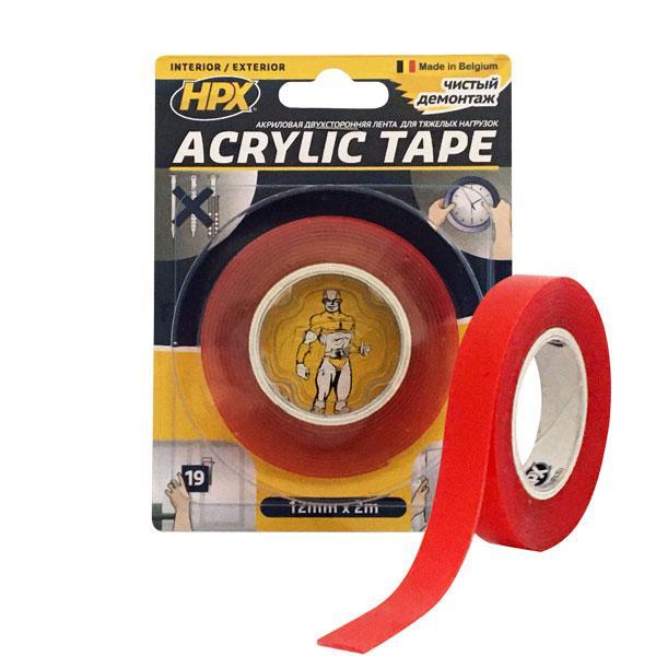ACRYLIC TAPE - 12мм x 2м, акриловая прозрачная двухсторонняя лента  HPX (силиконовый скотч)