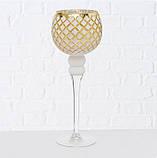 Набор из 3-х подсвечников-бокалов золотое стекло h30-40см, фото 3