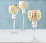 Набор из 3-х подсвечников-бокалов золотое стекло h30-40см, фото 6