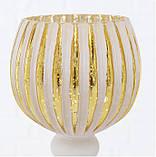 Набор из 3-х подсвечников-бокалов золотое стекло h30-40см, фото 7