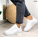 Женские кроссовки белые эко-кожа, фото 4