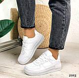 Женские кроссовки белые эко-кожа, фото 5