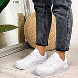 Женские кроссовки белые эко-кожа, фото 7