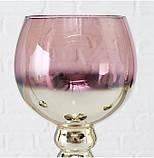 Подсвечник бокал набор из 3-х розовое стекло h30-40см, фото 8
