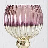 Подсвечник бокал набор из 3-х розовое стекло h30-40см, фото 6