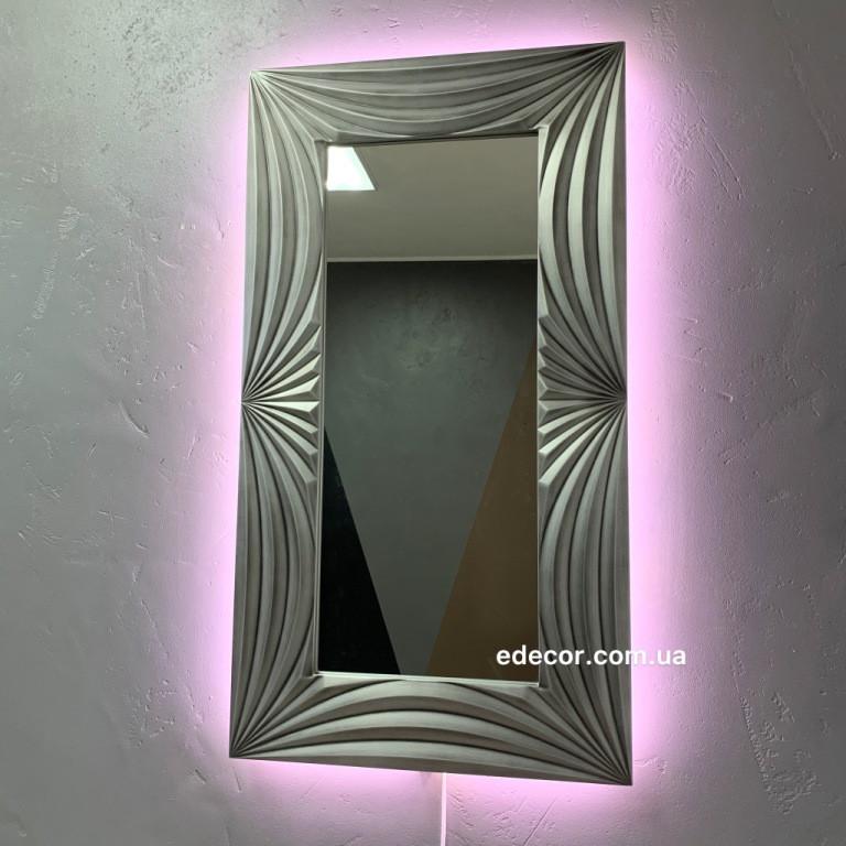 Зеркало с подсветкой Amaro серебряное с черной патиной