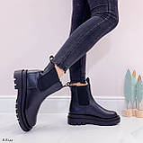 Тільки 36 р! Жіночі черевики ДЕМІ чорні з гумкою еко шкіра, фото 3