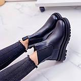Тільки 36 р! Жіночі черевики ДЕМІ чорні з гумкою еко шкіра, фото 9