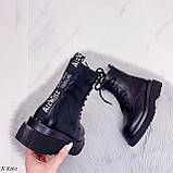 Женские ботинки ДЕМИ/ осенние черные на шнуровке эко кожа, фото 2