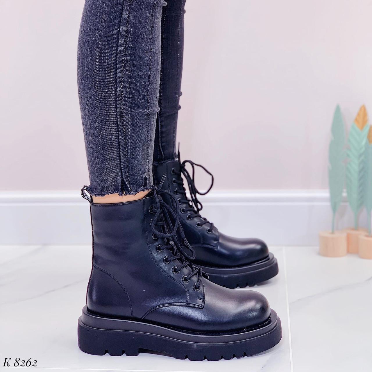 Женские ботинки ДЕМИ/ осенние черные на шнуровке эко кожа