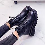 Женские ботинки ДЕМИ/ осенние черные на шнуровке эко кожа, фото 4