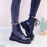 Женские ботинки ДЕМИ/ осенние черные на шнуровке эко кожа, фото 8