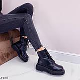Женские ботинки ДЕМИ/ осенние черные на шнуровке эко кожа, фото 5