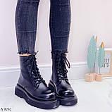 Женские ботинки ДЕМИ/ осенние черные на шнуровке эко кожа, фото 6