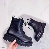 Женские ботинки ДЕМИ/ осенние черные на шнуровке эко кожа, фото 3