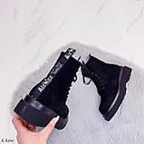 Женские ботинки ДЕМИ весна-осень черные эко-замш, фото 2