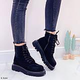 Женские ботинки ДЕМИ весна-осень черные эко-замш, фото 8