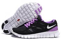 Кроссовки женские беговые Nike Free Run Plus 2 (в стиле найк фри ран) черные, фото 1