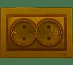 Розетка двойная с заземлением Luxel JAZZ (9608) бронзовая