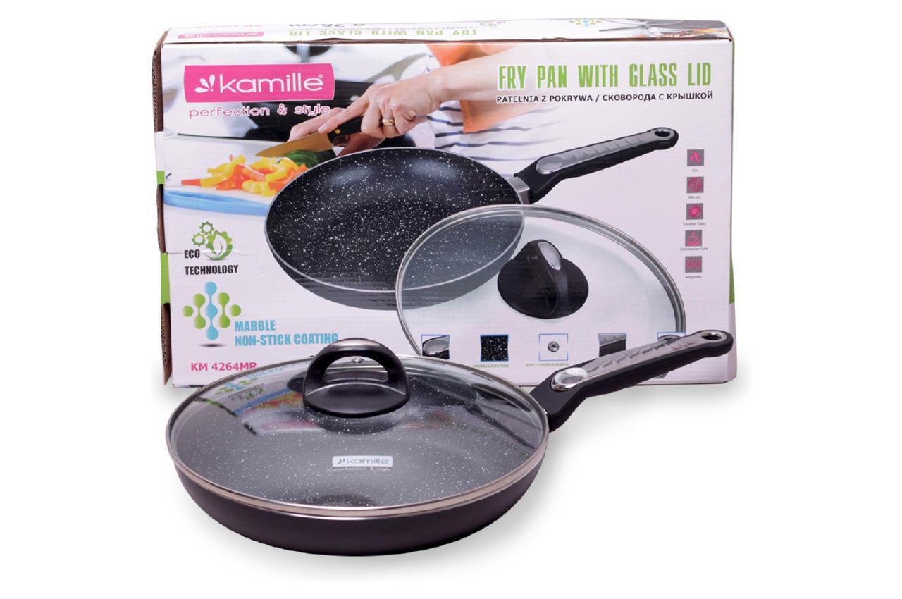 Сковорода антипригарная Kamille - 240 мм мрамор с крышкой