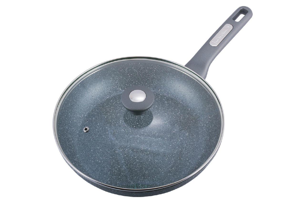 Сковорода антипригарная Kamille - 280 мм Granite с крышкой