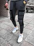Чоловічі спортивні штани карго спортивки сірі з чорним. Живе фото. Репліка, фото 2