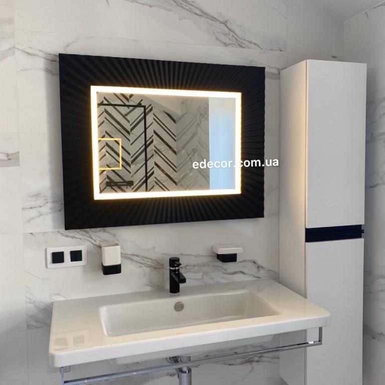 Зеркало в ванную черное Donato P2
