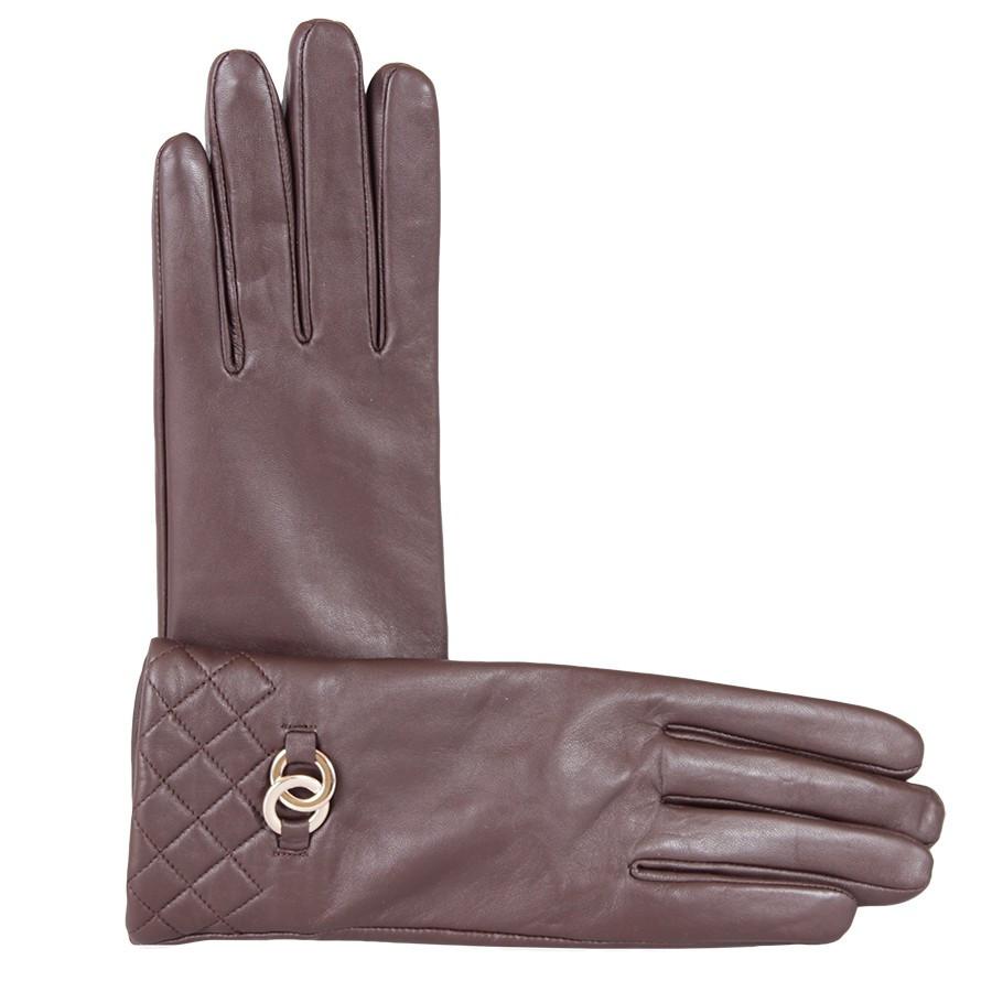 Перчатки кожаные женские de esse Коричневые