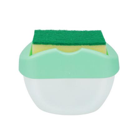 Органайзер для мочалок с мыльницей и дозатором нажимная Soap Pump Бирюзовая