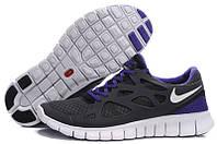 Кроссовки женские беговые Nike Free Run Plus 2 (найк фри ран) темно-серые