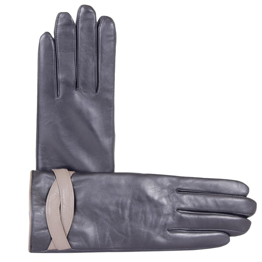 Перчатки кожаные женские de esse Темно-синие