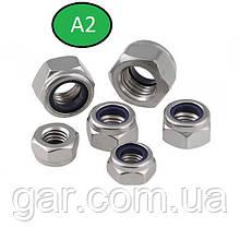 Гайка нержавеющая М5 DIN 985, ISO 10511 низкая самоконтрящаяся с нейлоновым кольцом