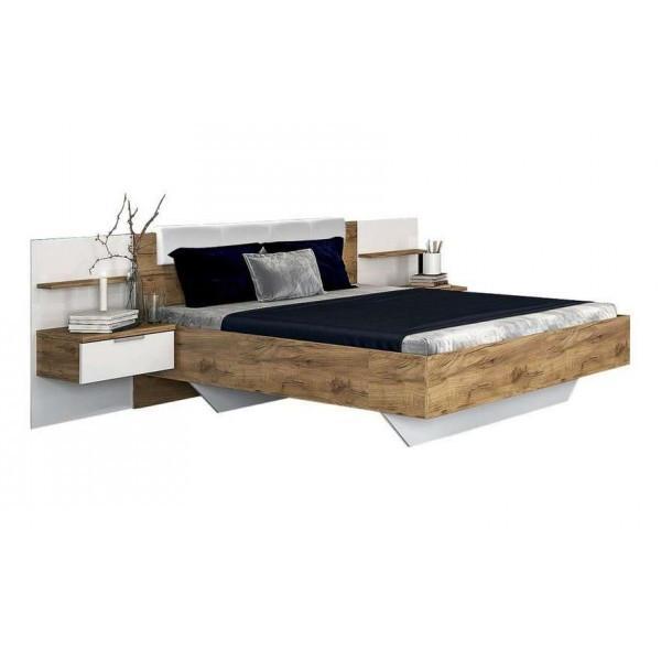 Кровать двуспальная с мягким изголовьем и двумя тумбами из ЛДСП Асти (без каркаса и матраса)MiroMark
