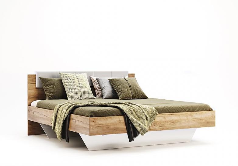 Кровать полуторная с мягким изголовьем из ЛДСП Асти (без каркаса и матраса) MiroMark
