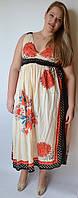 Платье летнее бежевое с цветами, 56 размер