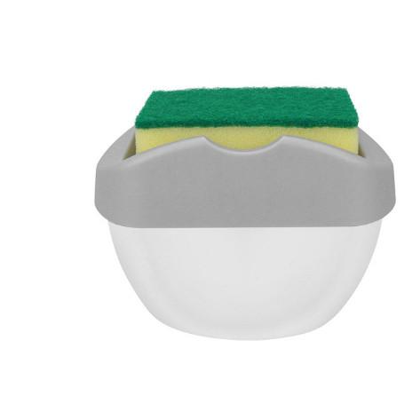 Органайзер для мочалок с мыльницей и дозатором нажимная Soap Pump Серый