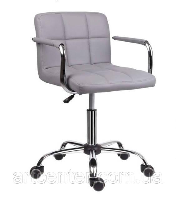 Кресло Артур Ко, на колесиках, экокожа, цвет серый, с подлокотниками