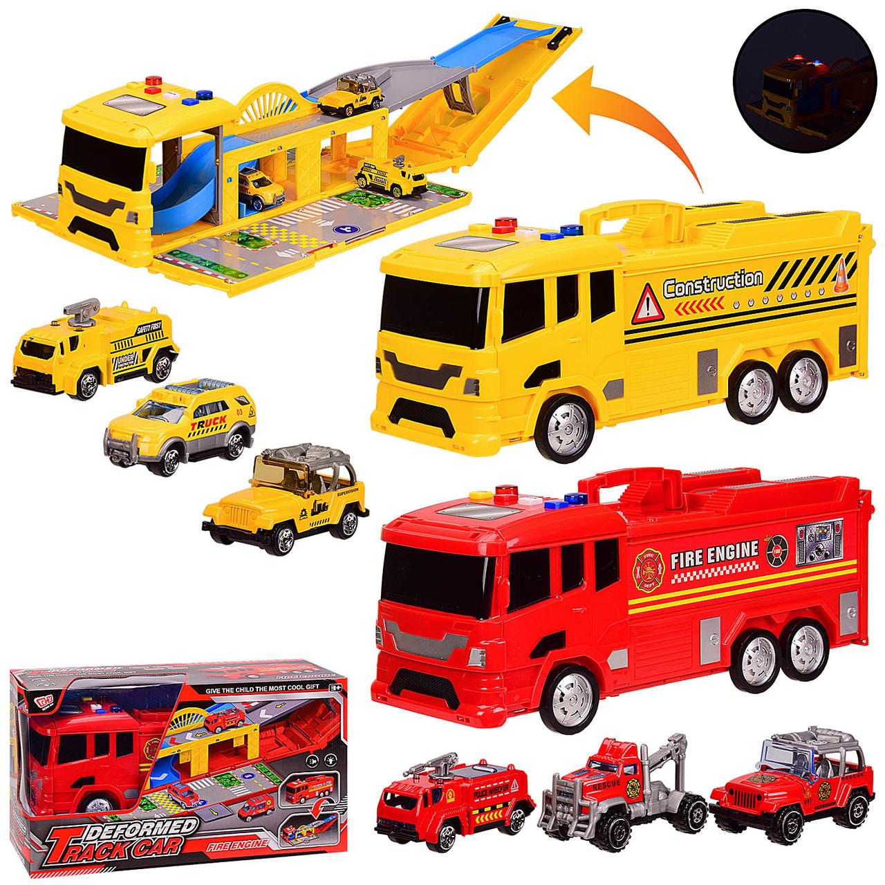 Паркинг 2 вида Пожарная машина и Служебная, свет, звук, в коробке JM522-101/JM522-102