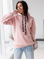 Женское худи на флисе розового цвета. Модель 3136. Размеры M,L