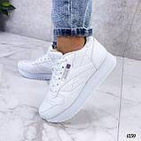 Стильные кроссовки женские белые эко-кожа, фото 3