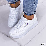 Стильные кроссовки женские белые эко-кожа, фото 4