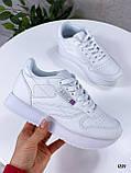 Стильные кроссовки женские белые эко-кожа, фото 5