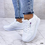 Стильные кроссовки женские белые эко-кожа, фото 6