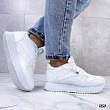 Стильные кроссовки женские белые эко-кожа, фото 7