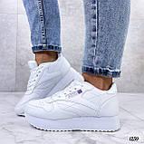 Стильные кроссовки женские белые эко-кожа, фото 8