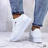 Стильные кроссовки женские белые эко-кожа, фото 9