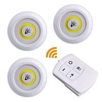 3x LED светильник ночник автономный, с пультом ДУ, белый